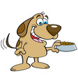 Cartoon dog holding a dog food dish vector image vector image
