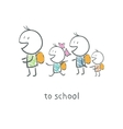 Children go to school vector image