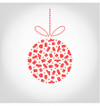christmas tree ball from red gift box snowflake vector image