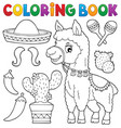 coloring book llama and objects set 1 vector image vector image
