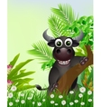cute buffalo cartoon smiling with tropical forest vector image vector image