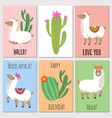 cute mexican alpaca kids invitation cards vector image vector image