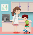 doctor helping boy with bruise vector image