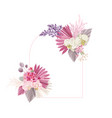 floral decoration frame dried tropical vector image vector image