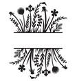 floral frame or border grass silhouette vector image