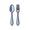 fork and spoon sketch cartoon isolated vector image vector image