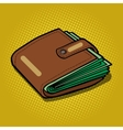 Full wallet with money pop art vector image