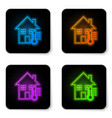 glowing neon house temperature icon isolated on vector image vector image
