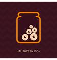 Halloween eye glass jar silhouette icon vector image