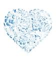 heart flowers gzhel vector image