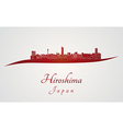 Hiroshima skyline in red vector image vector image
