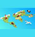 isometric logistics global logistics vector image vector image