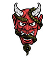 japanese mask a demon with a snake vector image vector image