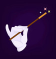 magicians hand wearing gloves with wand and star vector image vector image