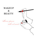 makeup and beauty banner women s hand with makeup vector image vector image