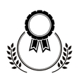 medal award in monochrome with olive branch vector image vector image