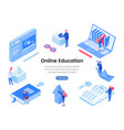Online education landing page isometric template