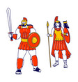 pallas athene and ares mars olympian god and vector image