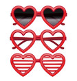 realistic detailed 3d vintage red heart glasses vector image vector image