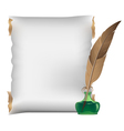 Scroll feather and inkwell vector image vector image