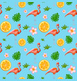 seamless pattern with exotic tropical flower and vector image