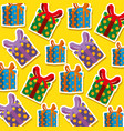 set christmas gifts presents pattern vector image