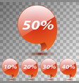 set discount sticker sale red tag isolated vector image vector image