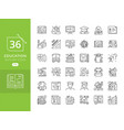 set line icons in flat design education vector image vector image