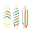 set of decorated colorful surfboards vector image vector image