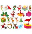 set santa claus cartoon character and vector image
