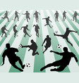 silhouettes of football players vector image vector image
