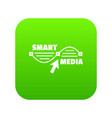 smart media icon green vector image