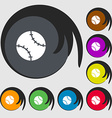 Tennis ball icon sign Symbols on eight colored vector image vector image