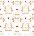 toast bread characters and hearts seamless pattern vector image