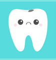 tooth icon sad face with caries crying bad ill vector image vector image