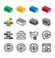 toy brick icon set vector image