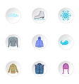 Warm outfits icons set cartoon style vector image vector image