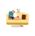 woman with cats on sofa vector image vector image