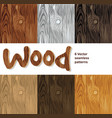 wood background seamless patterns set vector image