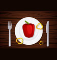 wood texture slices pepper on a plate vector image