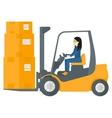 Worker moving load by forklift truck vector image vector image