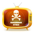 yellow retro tv with alert about ransomware attack vector image
