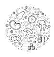 Meat and sausages icon set in round shape a vector image
