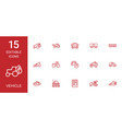 15 vehicle icons vector image vector image