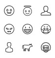 9 face icons vector image vector image