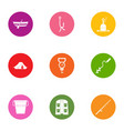 angling icons set flat style vector image