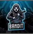 bandit esport mascot logo design vector image vector image