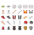 baseball and attributes cartoonmonochrom icons in vector image