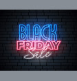 black friday neon sale banner design vector image