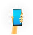 black smartphone in hand vector image vector image